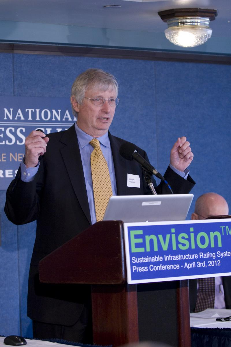 Taking questions at the Envision Press Conference, 2012